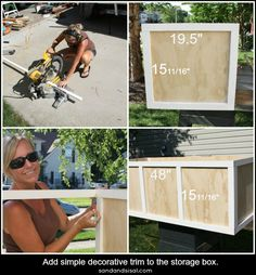 Learn how to make a rolling DIY outdoor storage box / bench for your patio or deck with this step by step tutorial. Use it as extra seating and fill it with your patio cushions. Outside Storage Bench, Outdoor Storage Bin, Pool Toy Storage, Diy Storage Trunk, Plywood Storage, Pillow Storage, Diy Storage Boxes, Cabinet Storage, Storage Bins