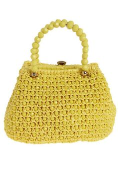 Vintage Lemon Ball Purse. One squeeze on the beaded handle of this purse, and you're sold.  #modcloth