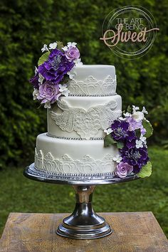 Purple and lace wedding cake  beingsweet.ca