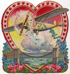 vintage valentine - airplane spreading flowers