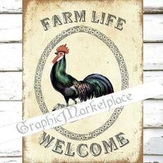 Farm Welcome Rooster Large Image Instant by GraphicMarketplace