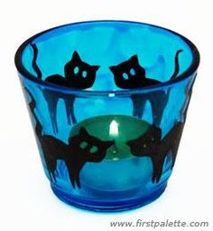 DIY Halloween Crafts : DIY Halloween Stained Glass Candle Holder Craft