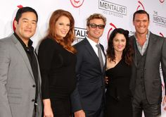 cast of The Mentalist.  'Cho', Grace, Patrick Jane, Theresa, 'Rigsby'.