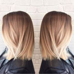 long bob cut STRAIGHT BOB + BLONDE BALAYAGE