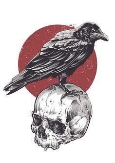 Raven sitting on skull grunge style graffiti art. Vector illustration by Vecster. Tattoo Crane, 16 Tattoo, Tattoo Drawings, Body Art Tattoos, Art Drawings, Crow Tattoos, Crow Art, Raven Art, Art And Illustration