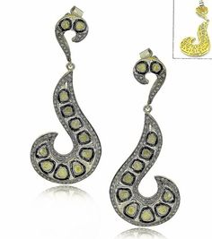 Sale! Unique design Retro 3ct Old Mine Polki Diamond Dangle Signet Enamel Work Earrings 18k Gold 925 Silver