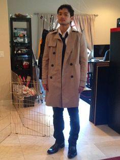 Osric Chau dressed as Castiel.