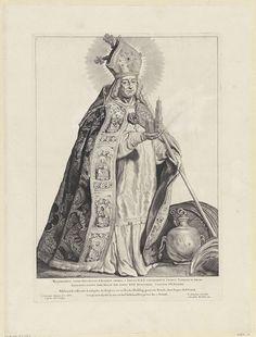 Cornelis Visscher (II) | H. Willibrord, Cornelis Visscher (II), Pieter Claesz. Soutman, unknown, 1650 | Willibrord, de eerste bisschop van Utrecht, met in zijn ene hand een schaalmodel van een kerk en in zijn andere een staf. Deze prent maakt deel uit van een reeks Nederlandse heiligen.