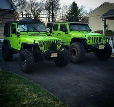 The green jeep on the left looks just like mine! Jeep Xj, Jeep Truck, Jeep Wranglers, Wrangler Tj, Jeep Wrangler Unlimited, My Dream Car, Dream Cars, Lime Green Jeep, Jeep Hacks
