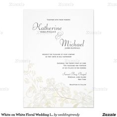 "White on White Floral Wedding Invitations 5"" X 7"" Invitation Card"