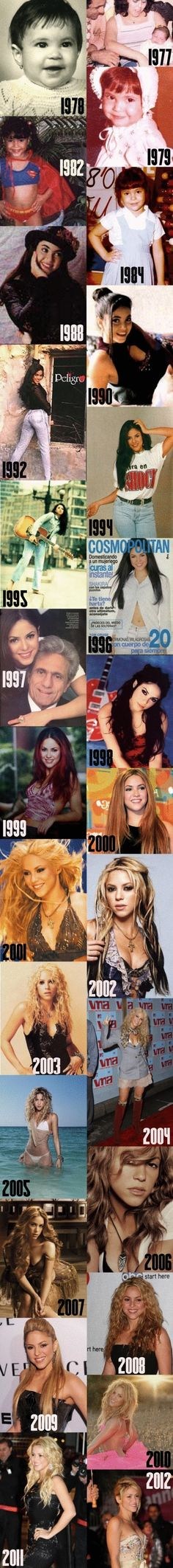 Shakira through the years
