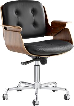 Hans Könecke's 1954 bent plywood office chair predates the Eames design by several years. Made in Germany by Tecta.