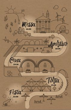 Customized illustrated map with the event's timeline Graphic Design & Wedding Stationery by Paffi www. Timeline, Wedding Stationery, Photo Credit, Real Weddings, Journey, Invitations, Graphic Design, Map, Illustration