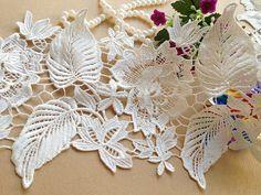 Schöner weißer Spitze bestickt Blumen Trim von prettylaceshop