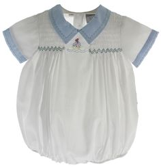 d9564b0e19a88 Hiccups Childrens Boutique - Infant Boys White Sailboat Bubble Outfit with  Blue Collar, $32.00 (