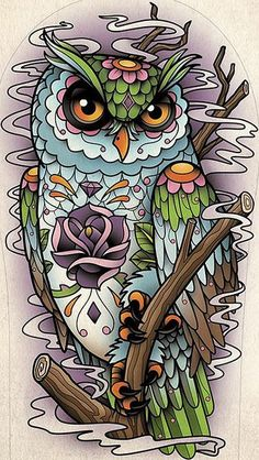 Setwidth487 Sugar Skull Owl Tattoo Design Flickr Photo Sharing- Maybe a crescent moon in the background..