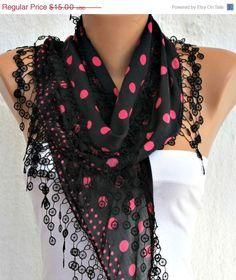 Polka Dot Scarf  Black Pink Scarf   Cotton  Scarf   by fatwoman, $13.50