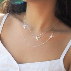 Sterling Silver Flying Birds Necklace