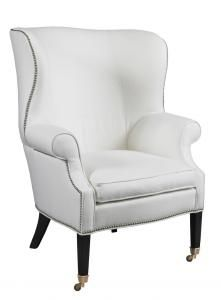 Preston Chair Hickory White LA4046C Lillian August Fine Furnishings Rolled Arm #Wingback #Casters Tight Back #Showroom