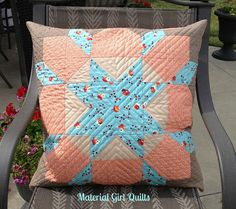 Swoon cushion by Material Girl Girls Quilts, Quilted Pillow, Quilt Bedding, Material Girls, Paper Clip, Quilt Making, Quilting Projects, Quilt Patterns, Cushions