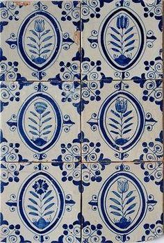 6 Antique authentic Dutch delft delftware blue and white tulip tiles carreau