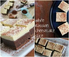 This White Russian Cheesecake Slice is easy to make and tastes great. This has been an internet sensation and is made with Kahlua and Vodka. Pudding Desserts, No Bake Desserts, Just Desserts, Delicious Desserts, Dessert Recipes, No Bake Treats, Yummy Treats, Sweet Treats, Cheesecake Recipes