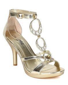 d491c0b82ad Wild Rose BH13 Women Metallic Leatherette Open Toe Jewel Stiletto Heel  Sandal - Light Gold