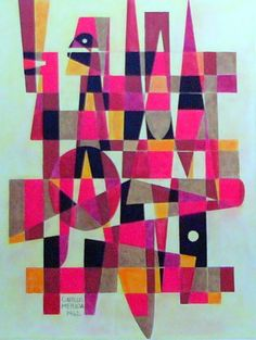 Carlos MERIDA, ORIGINAL MIXED MEDIA DRAWING ON PAPER SIGNED & DATED. Abstract  #Cubism