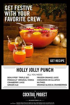Bring the party home this holiday season with the Holly Jolly Punch. This easy punch packs DeKuyper® Triple Sec, Pinnacle® Original Vodka, cranberry & allspice to deliver a festive flavor perfect for any holiday celebration. Add ingredients to a punch bowl, slowly stir in orange juice concentrate as it melts. Add spices to taste. Garnish with orange slices and cranberries. Christmas Party Food, Christmas Cocktails, Christmas Brunch, Christmas Appetizers, Christmas Cooking, Holiday Cocktails, Christmas Goodies, Christmas Eve, Christmas Stockings