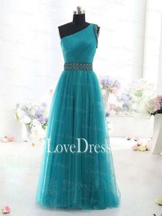 perfect for Gatsby prom Charming A-line one shoulder Tulle Turquoise Prom Dress,Evening Dress,Wedding Dress,Graduation Dress