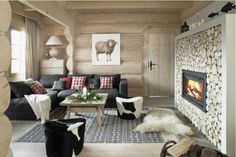 lighter wood, cow hides, wood rounds on wall