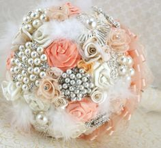 Brooch Bouquet VintageStyle Pearl Bouquet in Peach and by SolBijou, $350.00