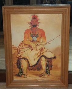 Native American Wood Framed Book Art Print GEORGE CATLIN Charles King Karl Bodme