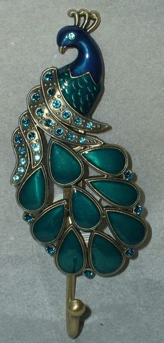 PEACOCK WALL ART PLAQUE~METAL HOOK~HANGER~JEWELED DECOR~BIRD~FEATHERS~TURQUOISE | eBay
