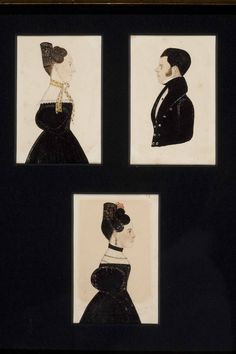 "Antiques & Fine Art - Pollack, Frank & Barbara American Antiques & Art - Three Miniature Watercolor Portraits of ""Asa, Amanda, and Betsy Brown"""