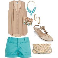 Turquoise and nude summer outfits women, short outfits, summer fashion outfits, stylish outfits Cute Summer Outfits, Summer Wear, Spring Summer Fashion, Stylish Outfits, Spring Outfits, Casual Summer, Spring Clothes, Style Summer, Outfit Summer