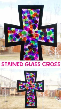 This stained glass cross craft is a beautiful and simple way for kids to decorate at home, school or church for the Easter holiday. Grab our free printable cross template and make this easy cross craft for Easter today! Good Friday Crafts, Sunday School Crafts For Kids, Easter Crafts For Toddlers, Bible School Crafts, Spring Crafts For Kids, Easter Crafts For Kids, Preschool Crafts, Vbs Crafts, Easter Games