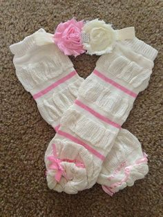 Pink ivory baby headband and leg warmers SET baby by LBbowtique1, $15.00