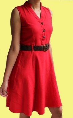 Coral A-line Linen dress from TONGA http://www.myntra.com/Dresses ...