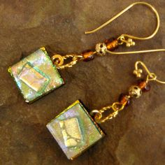 Fused Glass Earrings Dichroic Fused Glass Drop by GlassCat on Etsy, $22.00