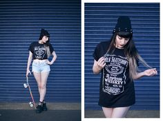 Get this look: http://lb.nu/look/8338027  More looks by Amy Souter: http://lb.nu/amystardust  Items in this look:  Milk Skateshop Old No.19 Black T Shirt, Topshop Bleached Denim Shorts, Lamoda Fishnet Socks, Primark Flatform Trainers, Ebay Spiked Beanie   #grunge #skater #street #milkskateshop #skateboard #shorts #topshop #longhair #greyombre