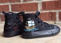 Painted Baby/Toddler Pirate Converse Shoes. Cool Baby Shoes! Hand Painted Chucks for Baby. Birth on Etsy, $58.00