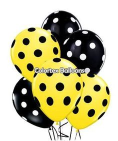 PMU Polka Dot Balloons Premium Yellow and Black with All-Over print Black and White Polka Dots Polka Dot Balloons, Printed Balloons, Latex Balloons, Polka Dots, Bee Theme, Party Themes, Black And White, Yellow, Creative