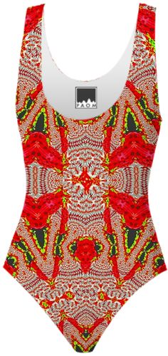 Red White Pattern Swimsuit from Print All Over Me