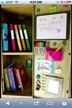 Cool locker for school. Going to help my girls with their lockers next year and might want to do that!