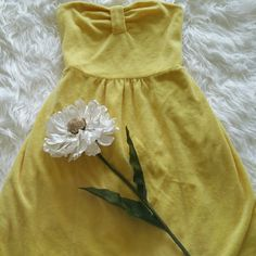 """SALE Juicy Couture Yellow Terry Strapless Top Awesome Yellow Juicy Couture Terry Strapless Top 80% Cotton 20% Polyester 25"""" from top of shoulder to bottom Juicy Couture Tops"""