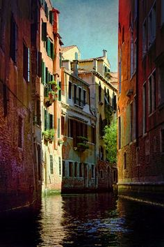 | ♕ | Backwater canal - Venice, Italy | by © AJ  -  I was surprised how clean the canals were. Venice is a fun place to visit.
