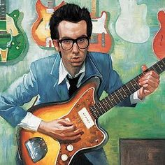 Elvis Costello illustrated by Roberto Parada Elvis Costello, Great Artists, Music Artists, Pandora Stations, The Yardbirds, Music Mix, Greatest Songs, Rolling Stones, Rock Art