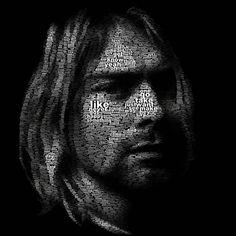 A portrait of Kurt Cobain made using words from Nirvana lyrics.