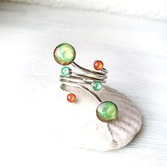 Open Green Statement Ring DOUBLE Ring Bubble Ring Thumb Ring on Etsy, $24.00